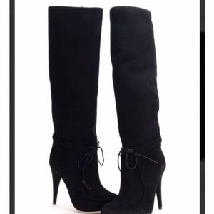 NWOT Black suede Loeffler Randall knee-high boots